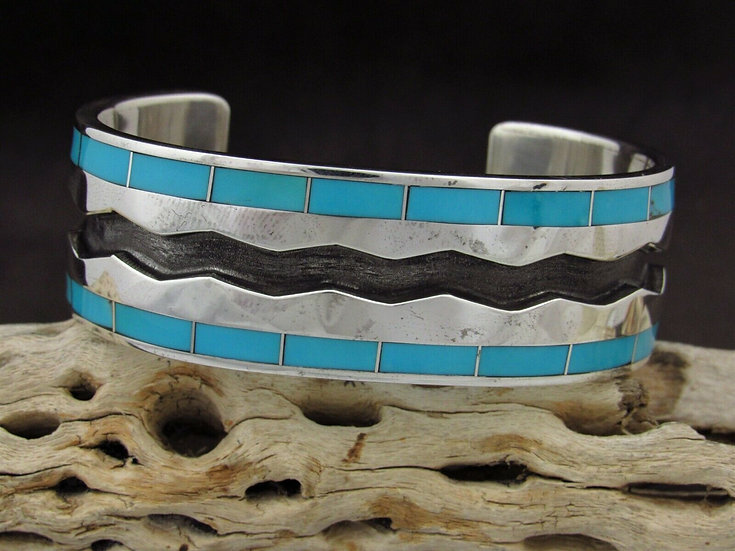 Zuni Turquoise Sterling Silver Cuff Bracelet by Larry Loretto