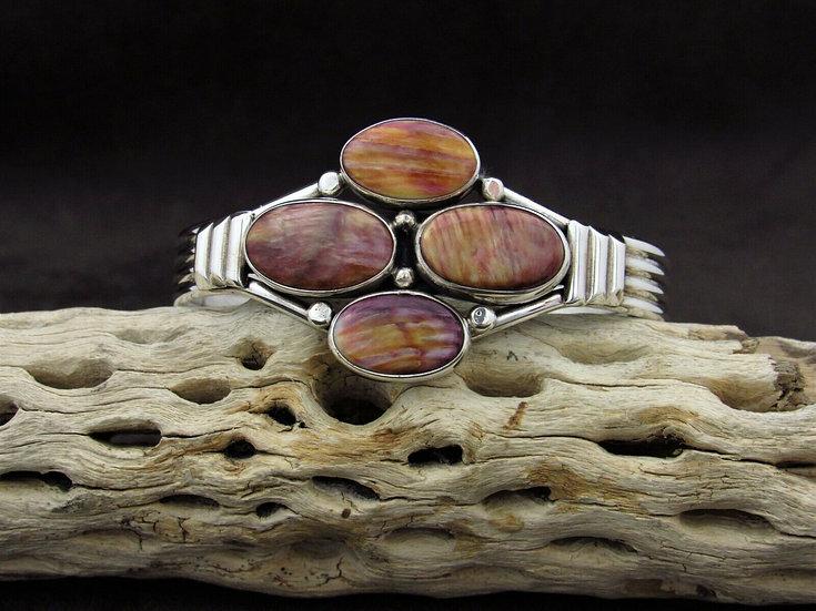 Sterling Silver Multi Stone Purple Spiny Oyster Cuff Bracelet
