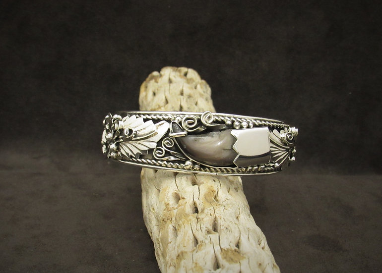 Sterling Silver Cuff Bracelet with Flower and Leaf Design