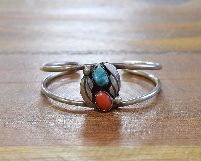 L. Charley Navajo Sterling Silver, Turquoise and Coral Cuff Bracelet