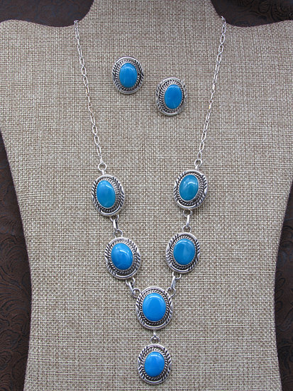 Sterling Silver and Turquoise Signed Navajo Necklace and Earring Set
