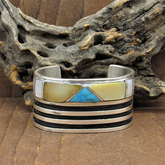 Vintage Mother Of Pearl and Turquoise Inlay Sterling Silver Cuff Bracelet