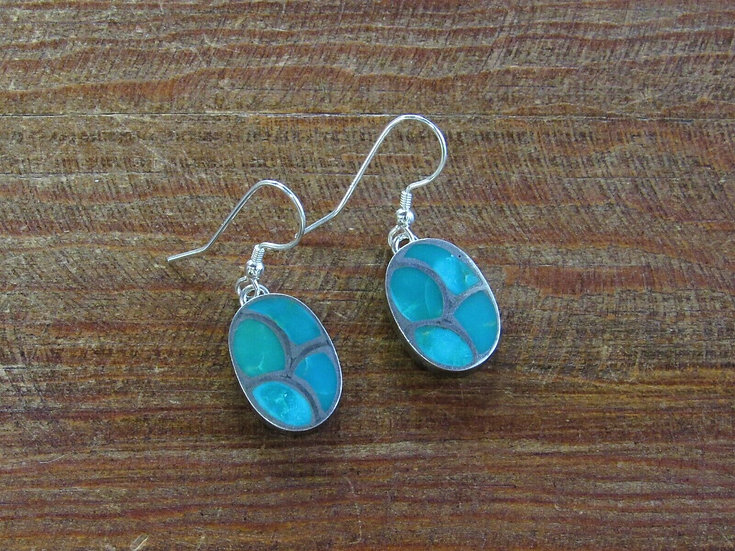 Southwestern Turquoise Sterling Silver Inlay Dangle Earrings