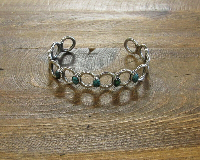 Vintage Sterling Silver and Turquoise Cuff Bracelet
