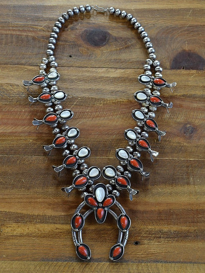 Vintage Southwest Coral and Mother of Pearl Sterling Silver Squash Blossom