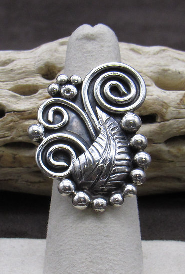 Navajo Sterling Silver Bead Scroll Leaf Ring Size 6 3/4