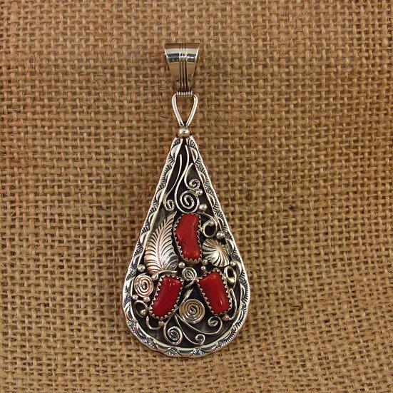 Navajo Coral Sterling Silver Teardrop Pendant