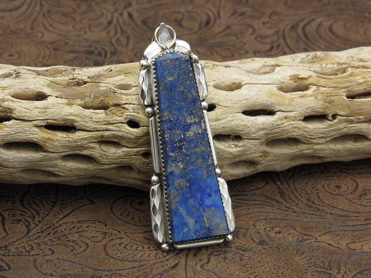 Zuni Lapis Sterling Silver Pendant