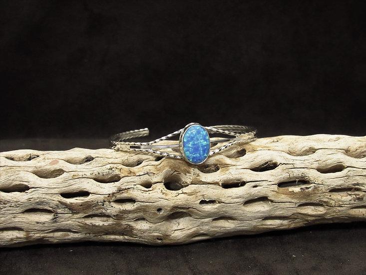 Sterling Silver Lab Created Opal Cuff Bracelet