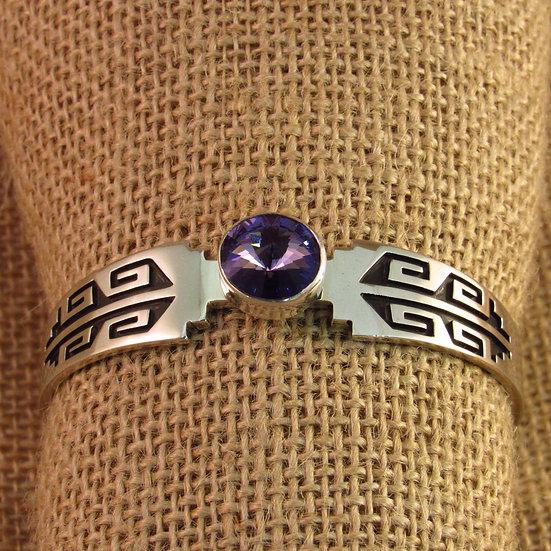 Navajo Purple Crystal Silver Overlay Cuff Bracelet
