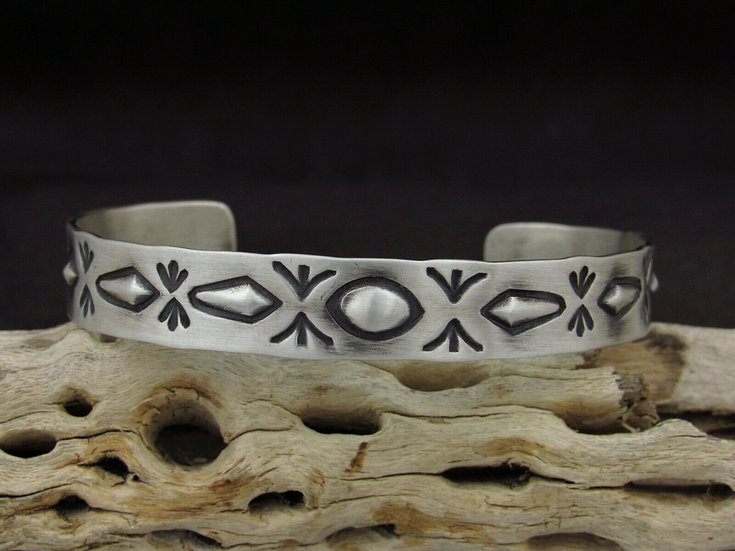 Repousse Sterling Silver Cuff Bracelet by Ronnie Willie