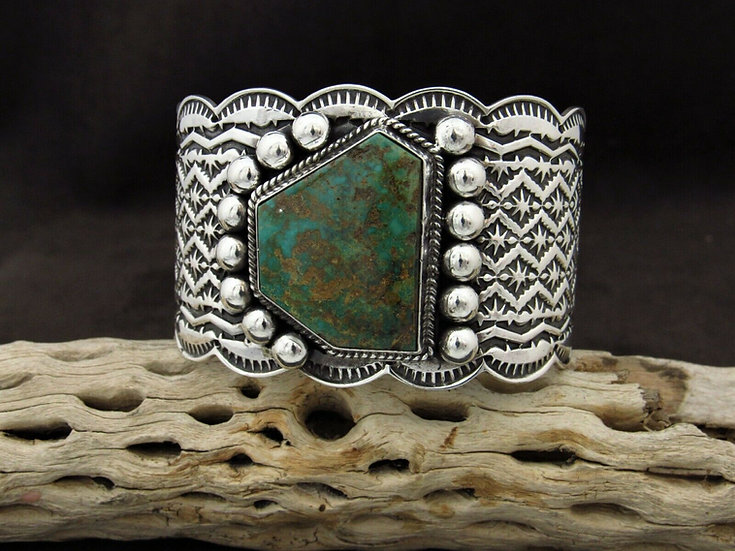 Navajo Turquoise Stamped Sterling Silver Cuff Bracelet by Sunshine Reeves