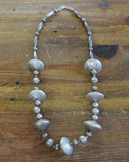 Navajo Sterling Silver Kennedy Half-Dollar Beaded Necklace