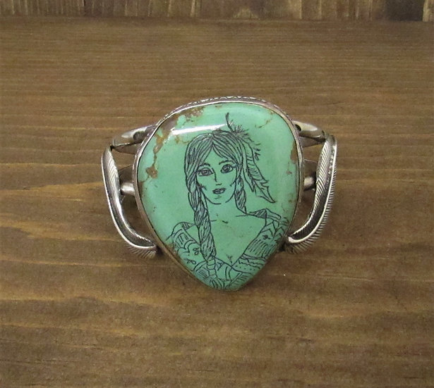 Vintage Sterling Silver Green Turquoise Cuff Bracelet with Etched Portrait
