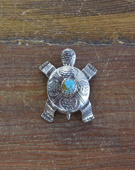 Navajo Stamped Sterling Silver Turquoise Turtle Pin/Pendant
