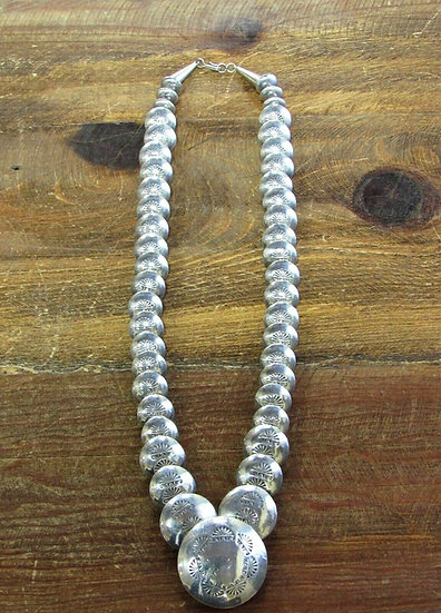 Vintage Stamped Sterling Silver Beaded Necklace