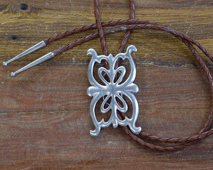 Southwest Sterling Silver Sand Cast Bolo Tie