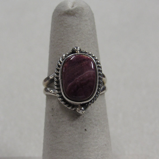 Sterling Silver and Spiny Oyster Shell Ring Size 5.5