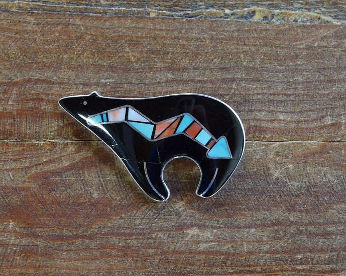 Navajo Sterling Silver Multi-Stone Inlay Bear Brooch by Danny Clark
