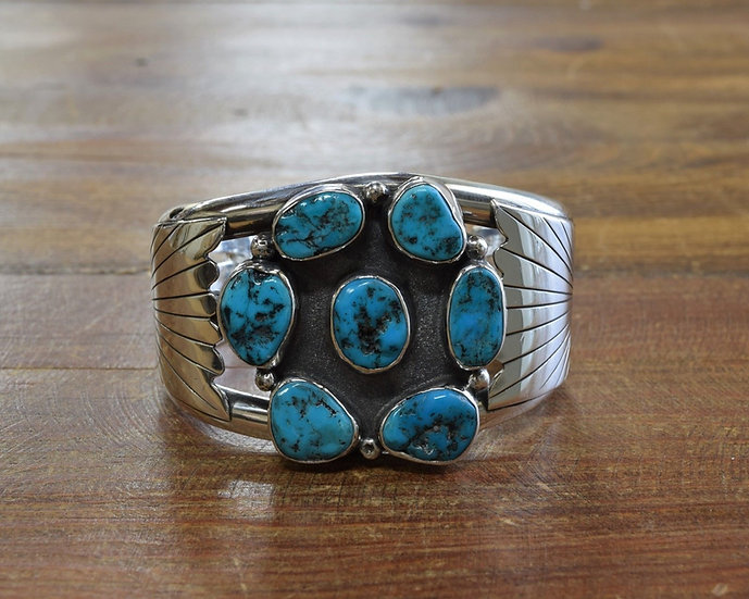 Vintage Sterling Silver and Turquoise Cluster Cuff Bracelet
