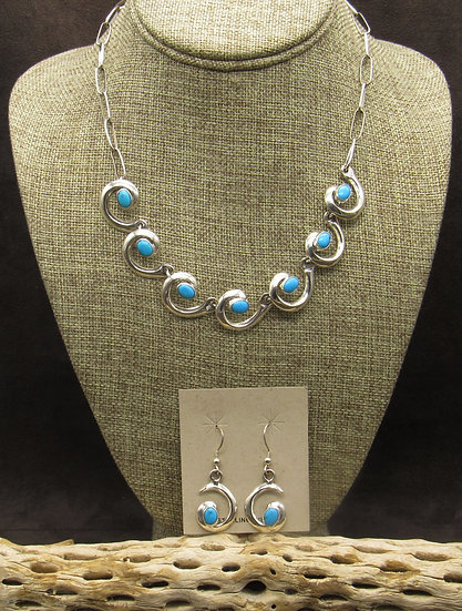 Sterling Silver Swirl Turquoise Necklace Earrings Set
