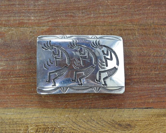 Vintage Navajo Kokopelli Kachina Overlay Sterling Silver Belt Buckle