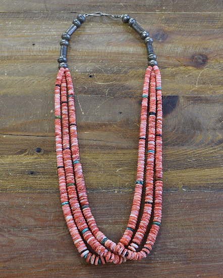 Vintage Three Strand Spiny Oyster Beaded Necklace