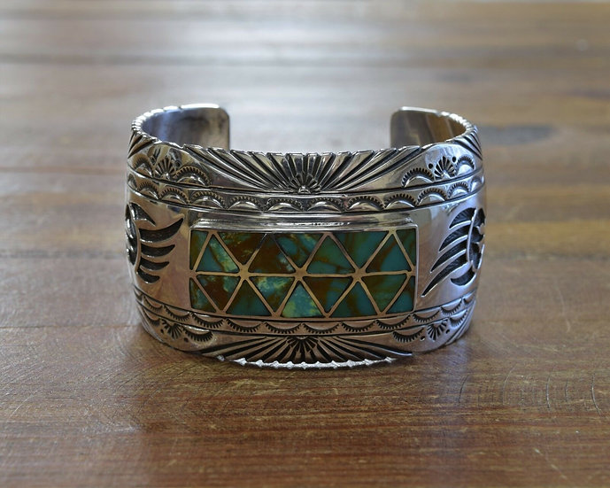 Vintage Navajo Turquoise Sterling Silver Inlay Cuff Bracelet