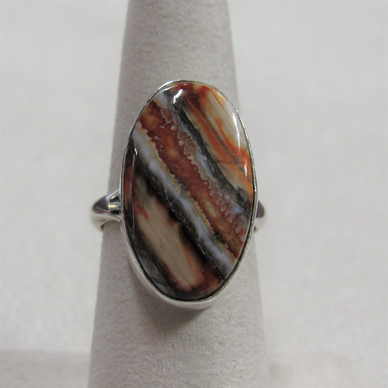 Sterling Silver Striated Rust Tan and Brown Stone Ring Size 7