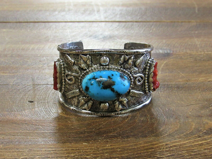 Southwestern Turquoise and Coral Sterling Silver Cuff Bracelet