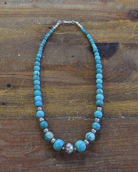 Vintage Sterling Silver and Turquoise Beaded Necklace