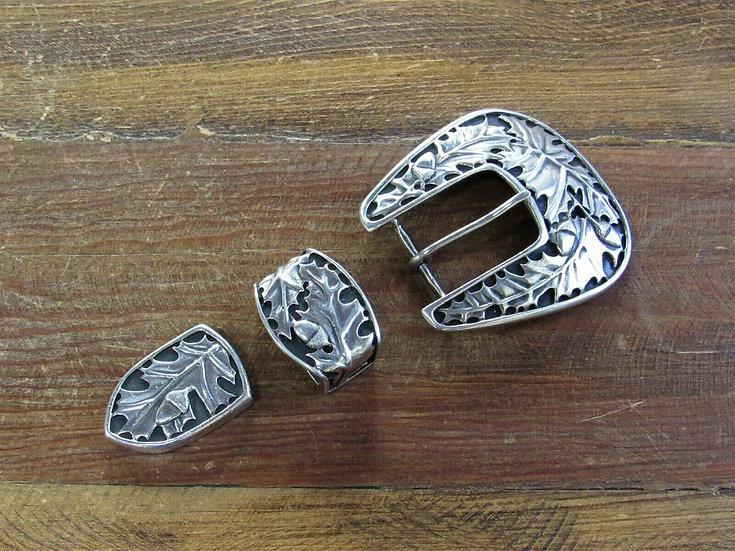 Vintage Sterling Silver Ranger Belt Buckle Set