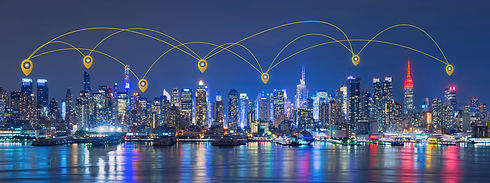 Map Pin Network And Connection Technology Concept Of Skyline Of New York City,skyscrapers, Downtown,
