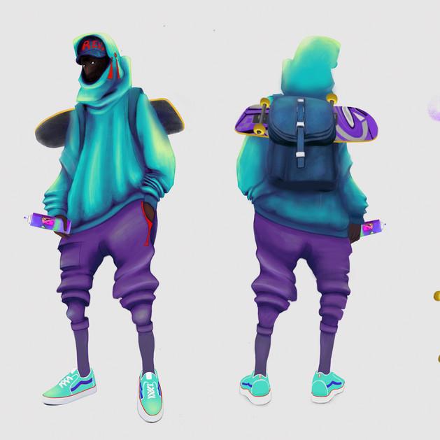 Ninja H - streetwear fashion, graffiti /hip hop boy. Character design.
