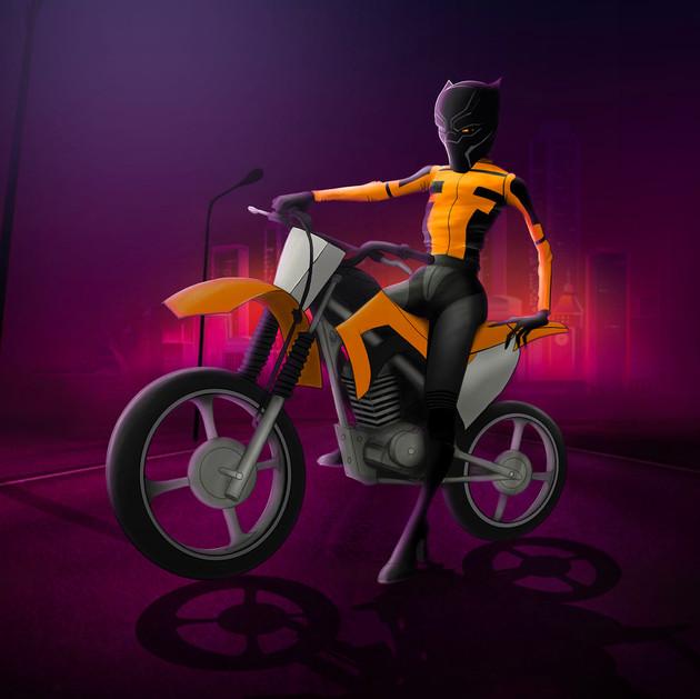 Night rider. Concept art drawn with Procreate