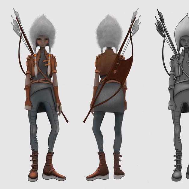 Olga, the huntress. Character design drawn in Procreate