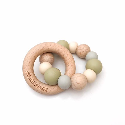 Pale Olive Single Rattle Silicone and Beech Wood Teether