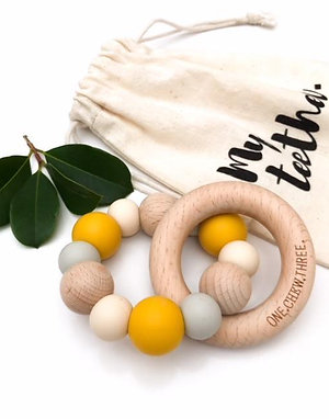 Mustard Single Rattle Silicone and Beech Wood Teether