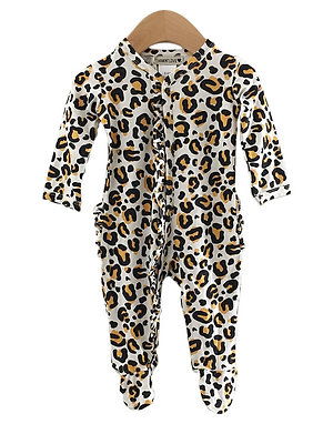 Ruffle Footed Romper Leopard