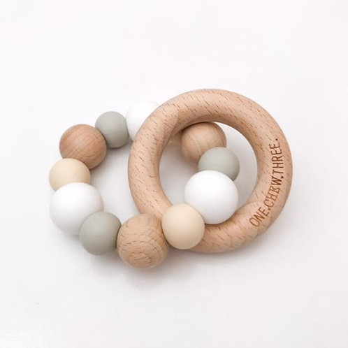 White Single Rattle Silicone and Beech Wood Teether