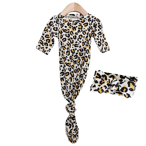 Knotted Gown and Bow Set, Leopard
