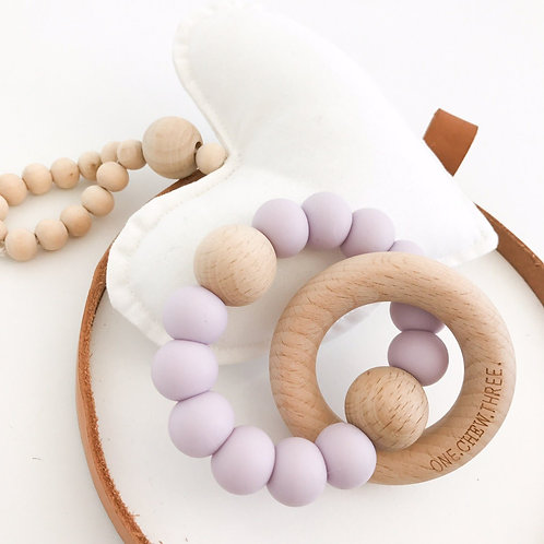 Pastel Purple Single Rattle Silicone and Beech Wood Teether