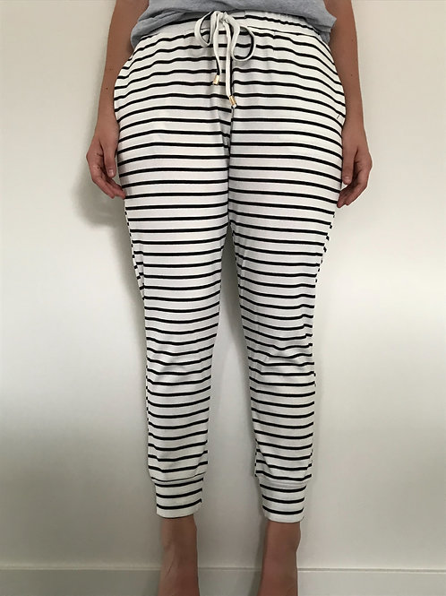Striped joggers - white