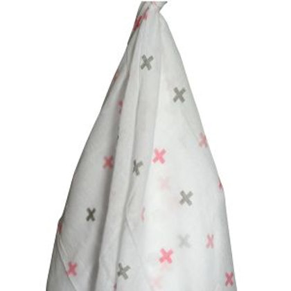 Cross Muslin Wrap - Pink and Grey