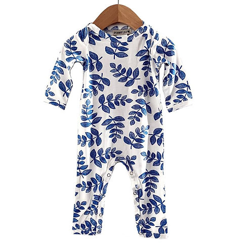 Long Sleeve Romper Indigo Fern