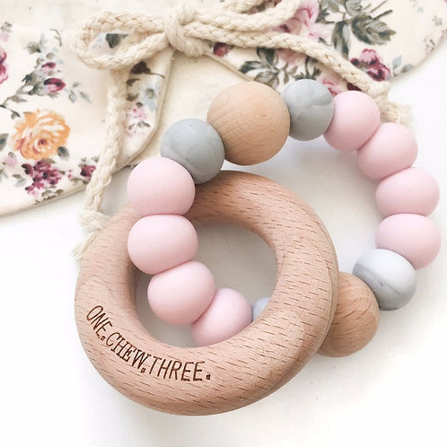 Pink and Grey Single Rattle Silicone and Beech Wood Teether