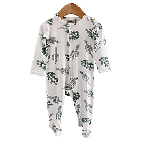 Footed Romper Green Cactus