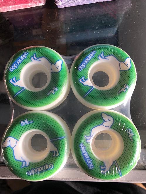 Weiner dog skateboard wheels green