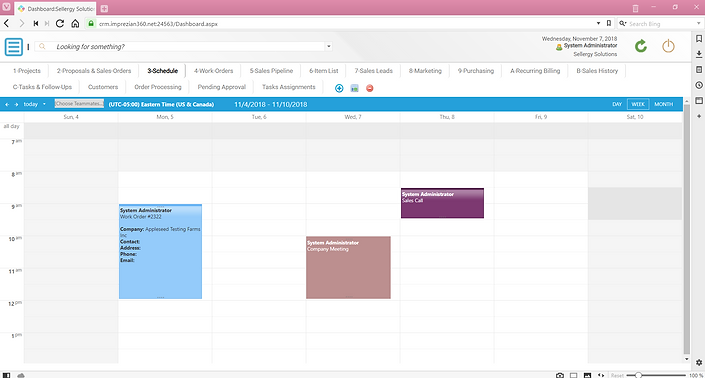 CRM Integrated Scheduling