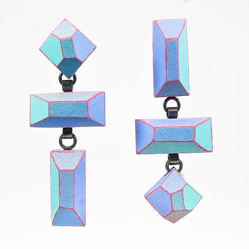 Front view from Pale Pastel colours with contrasted Magenta edges dangle earrings